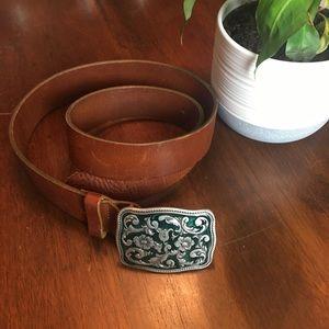 Gap- Brown Leather Belt- Floral Belt Buckle
